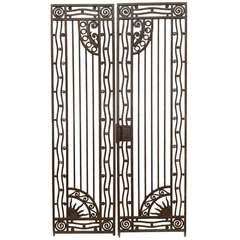 Pair of French Art Deco Wrought Iron Gates