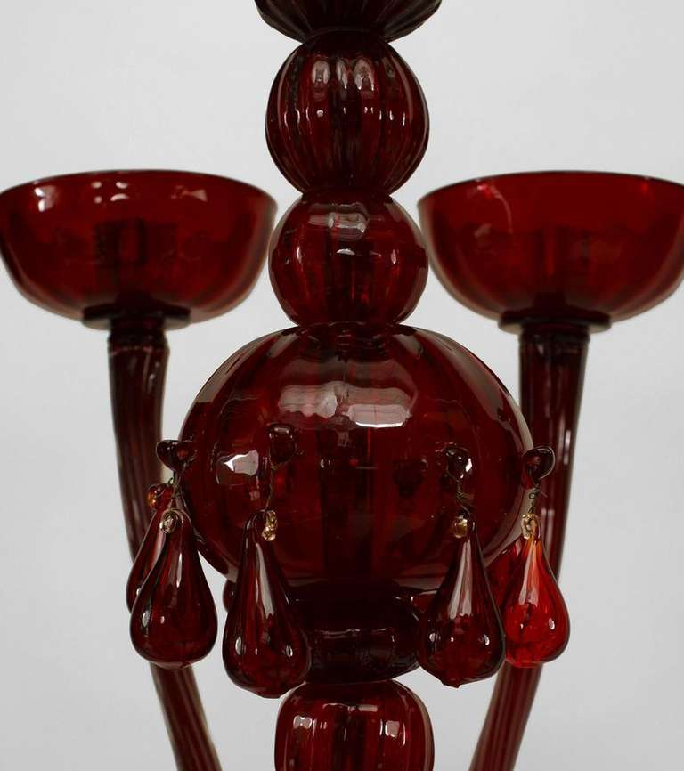 Red Murano Chandelier: Mid-Century Italian Ruby Red Murano Glass Chandelier At