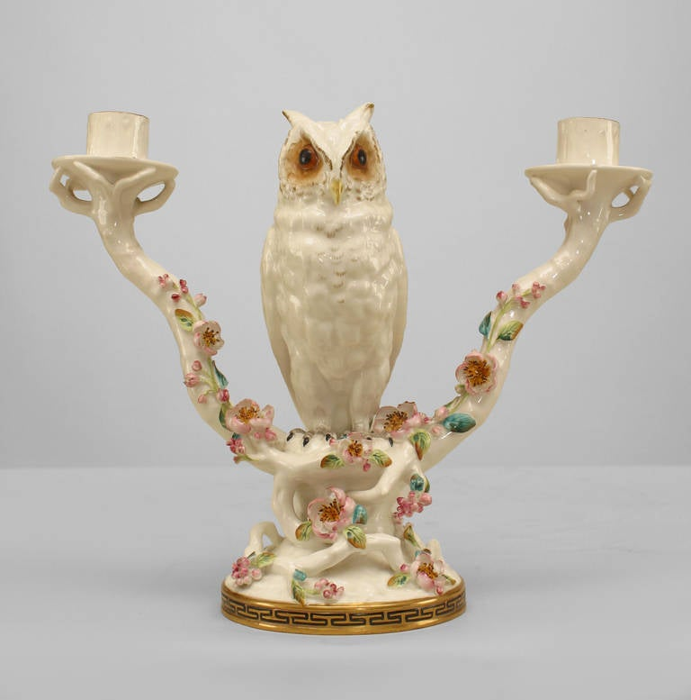 British Pair of Mid-19th Century English Porcelain Owl Candelabras For Sale