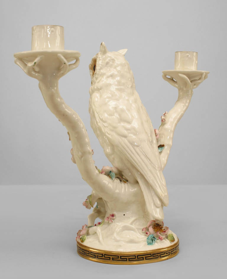 Pair of Mid-19th Century English Porcelain Owl Candelabras In Good Condition For Sale In New York, NY