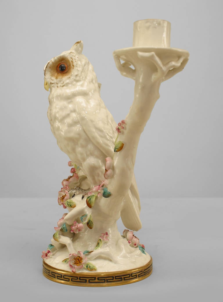 Pair of Mid-19th Century English Porcelain Owl Candelabras For Sale 2