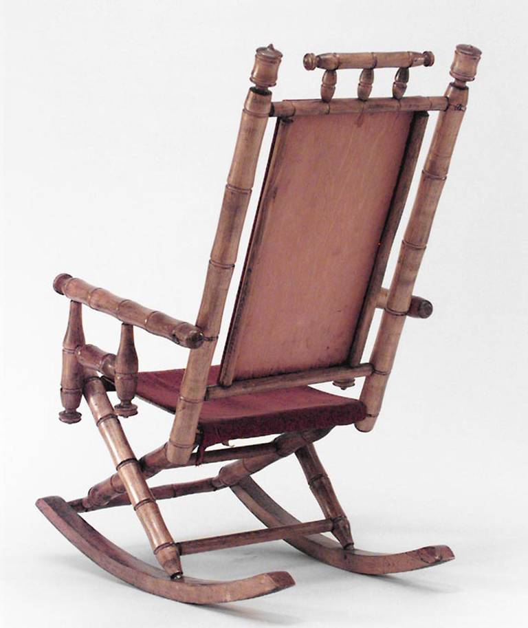 Late 19th Or Early 20th Century American Faux Bamboo Rocking Chair For Sale A