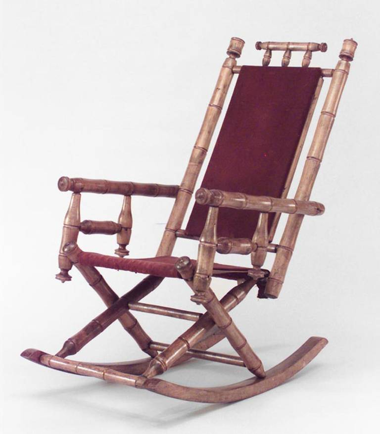 Late Nineteenth Or Early Twentieth Century American Faux Bamboo Maple  Rocking Chair With A Back And