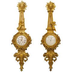 Large 19th c. French Ormolu Clock & Barometer by Raingo Freres