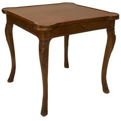 20th c. French Louis XV Style Leather Top Game Table