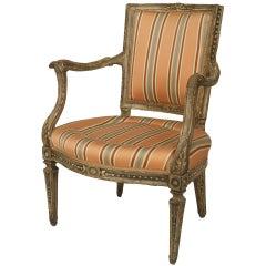 Italian Neo-Classic Pink Stripe Arm Chair