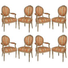 Set of 8 19th c. Louis XVI Style Decoratively Carved Dining Chairs