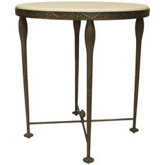 21st c. American Bronze and Shagreen End Table by Carole Gratale