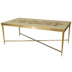 Contemporary American Eglomise and Bronze Coffee Table by Carole Gratale