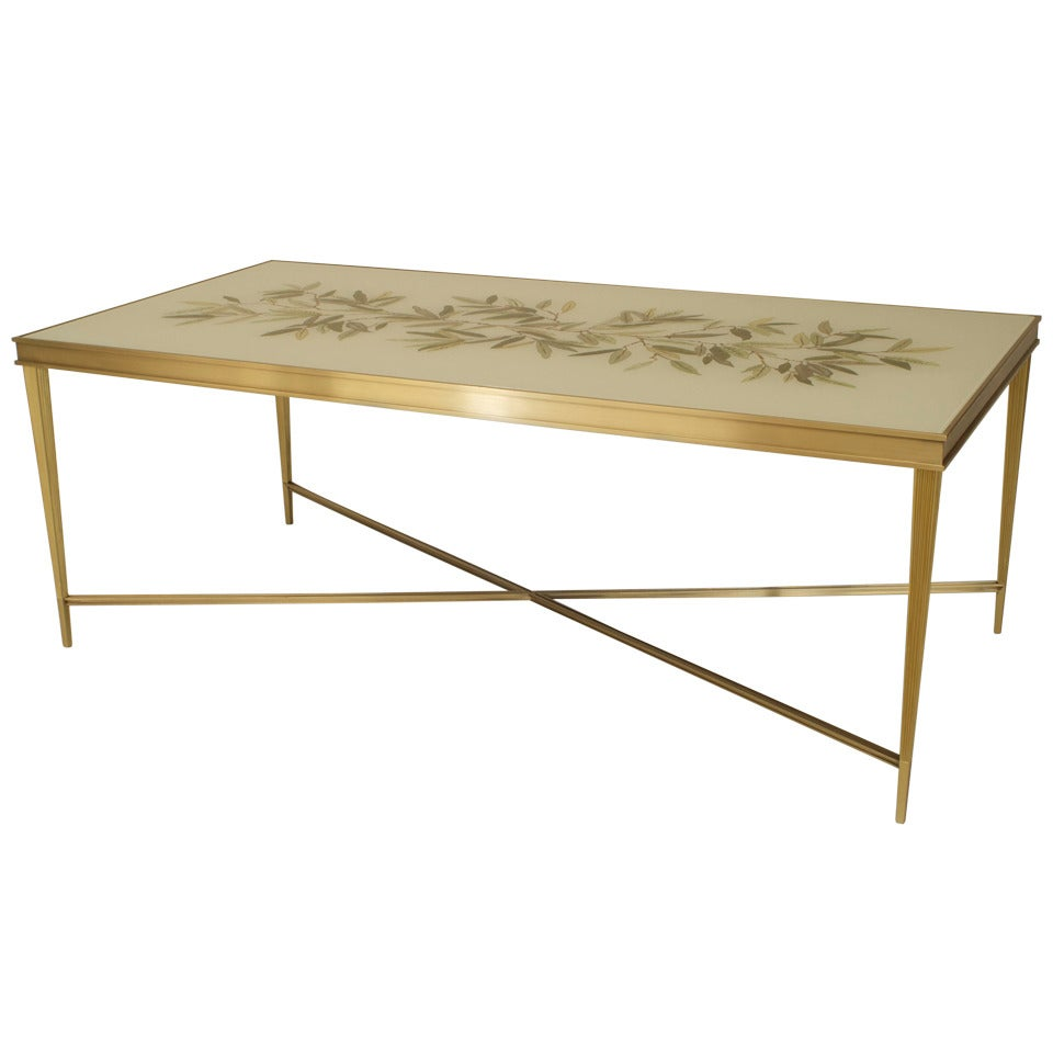 Contemporary American Églomisé and Bronze Coffee Table, by Carole Gratale