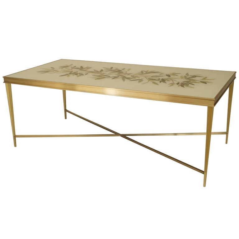 Contemporary American Églomisé and Bronze Coffee Table, by Carole Gratale For Sale