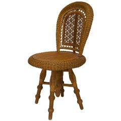 American Swiveling Wicker Side Chair by Wakefield Rattan Co., c. 1890