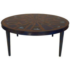 1970's French Round Copper and Lacquer Coffee Table