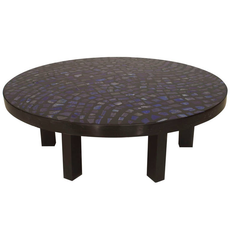 1970's Belgian Lapis Lazuli and Resin Coffee Table by Etienne Allemeersch