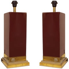 1970's French Lacquer Table Lamps by J.C. Mahey