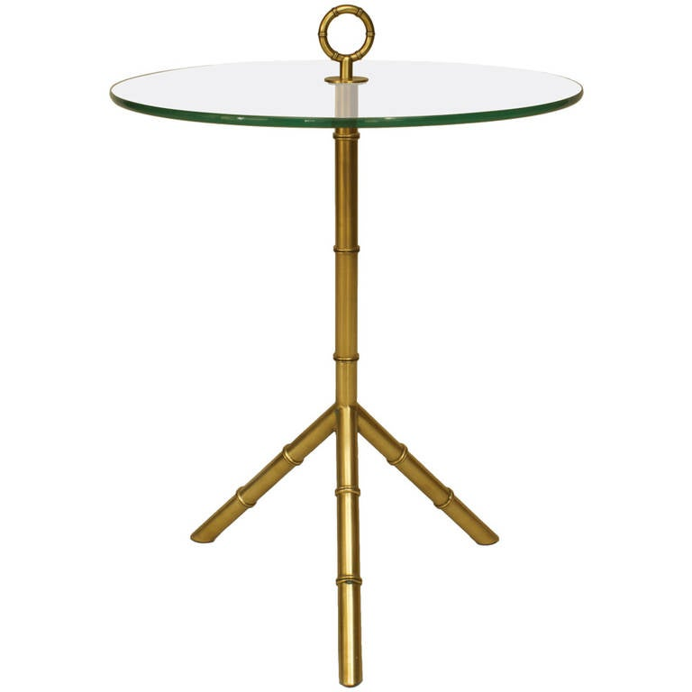 1960's French Brass Faux Bamboo End Table