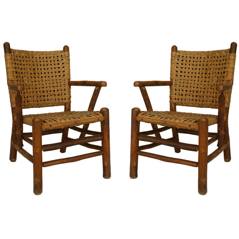 Pair Of 1940 S American Rustic Armchairs By The Old