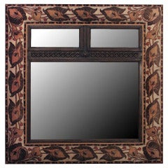 English Art Nouveau Wall Mirror Framed in Velvet