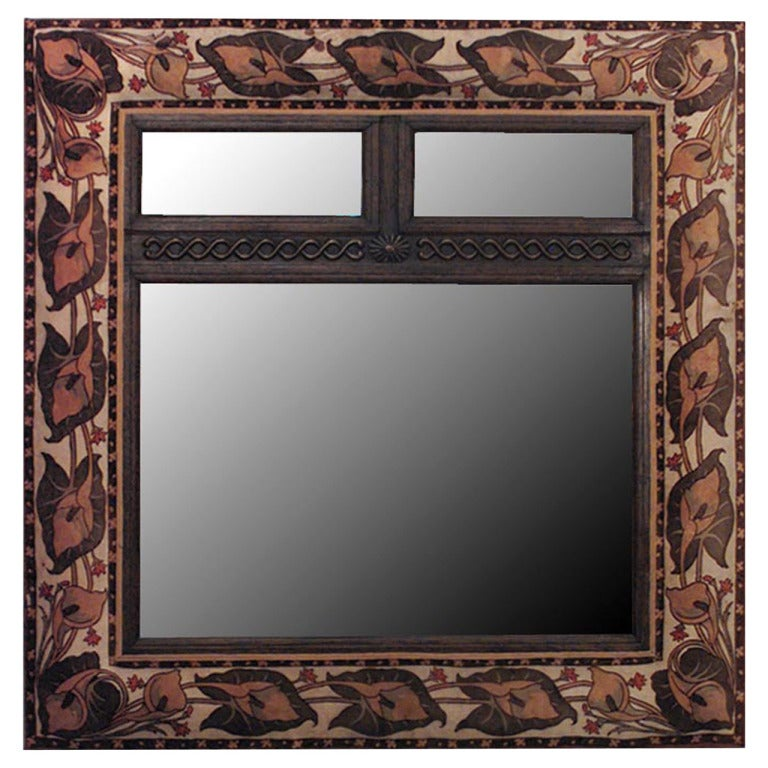 English Art Nouveau Wall Mirror Framed in Velvet
