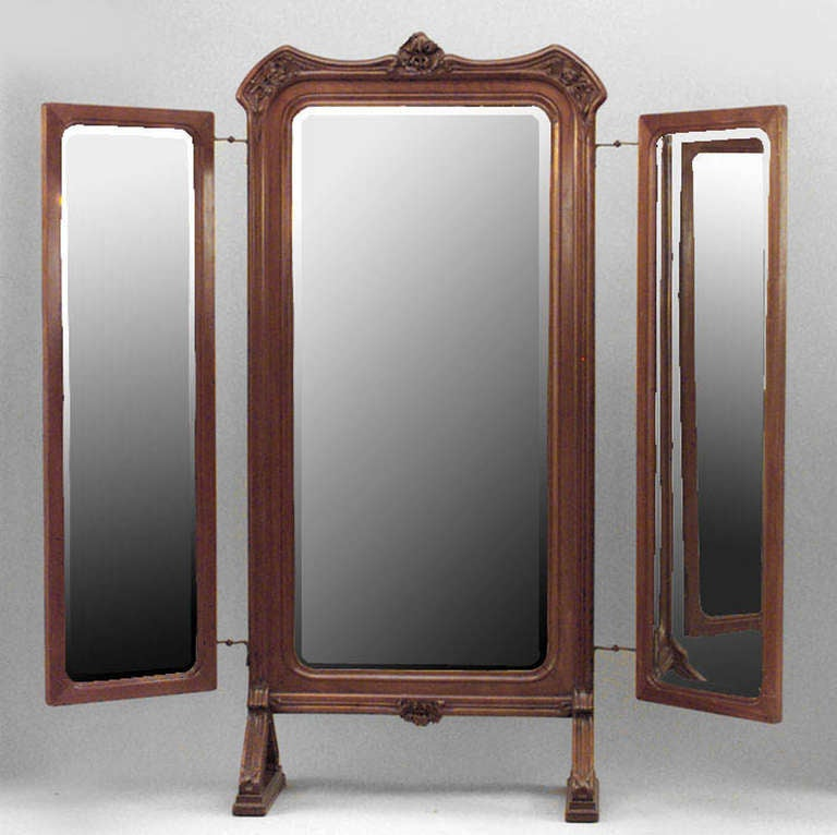 French Art Nouveau Triptych Cheval Mirror Attributed To