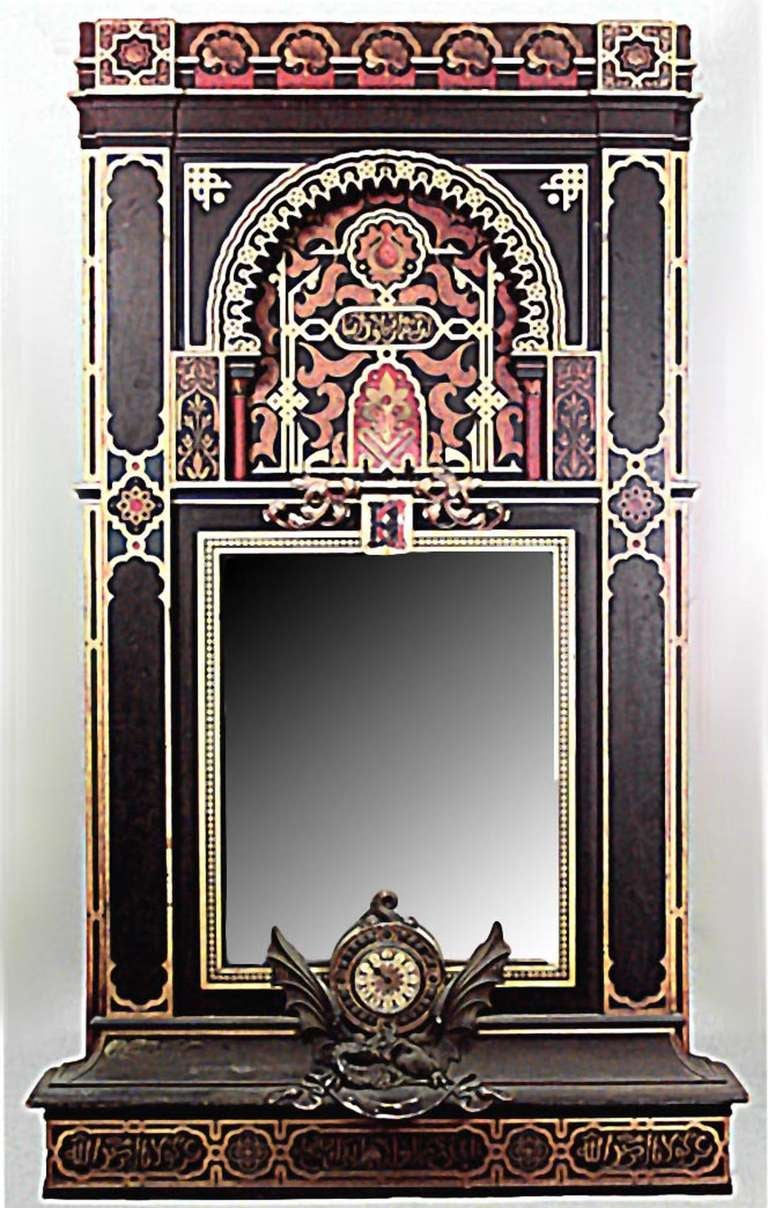 19th C Moorish Style Decorated Wall Panel With Mirror And