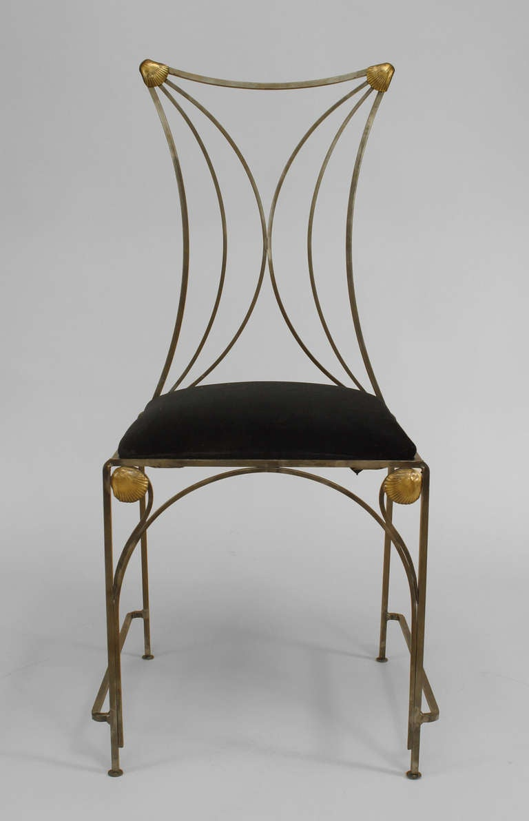 Art deco style chairs - 11 French Art Deco Style Steel And Brass Side Chairs 2