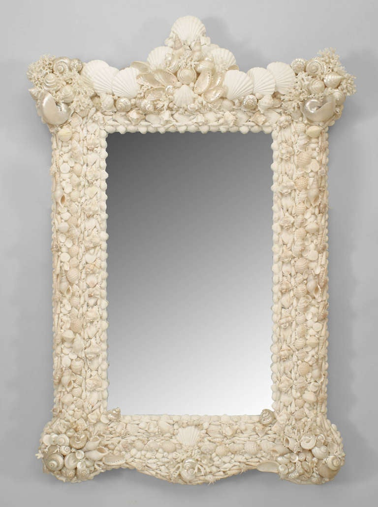 20th C Venetian Grotto Style Seashell Mirror For Sale At