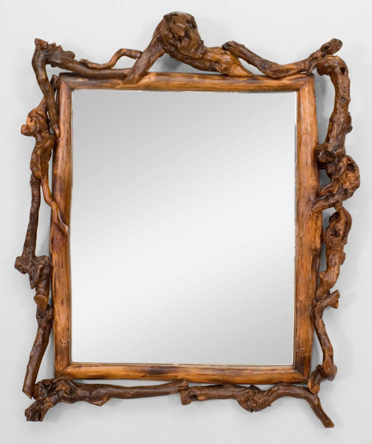 Adirondack style root framed wall mirror for sale at 1stdibs for Mirror frame styles