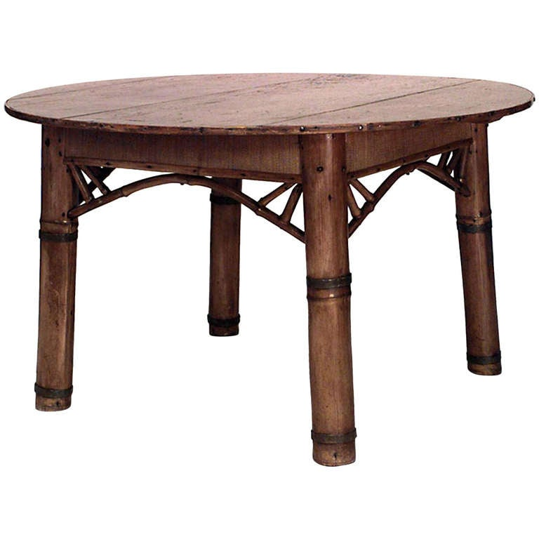 Victorian Dining Table: Victorian Pine And Bamboo Dining Table For Sale At 1stdibs
