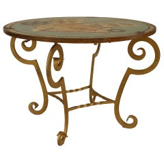 French Art Deco Gilt Wrought Iron Painted End Table