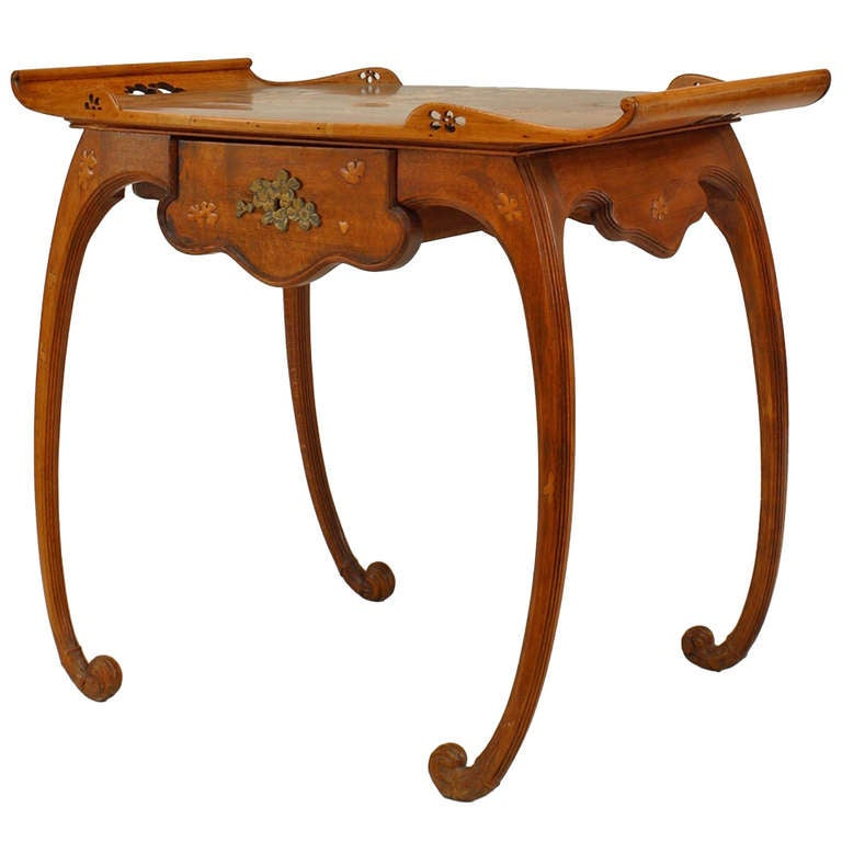 French Art Nouveau Walnut Serving Table by Emile Galle For Sale