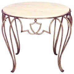 1940's French Round Coffee Table Attributed to Rene Drouet