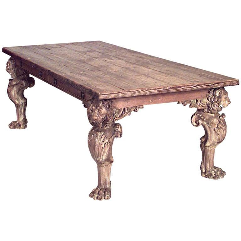 Large 19th C English Carved Stripped Wood Dining Table At