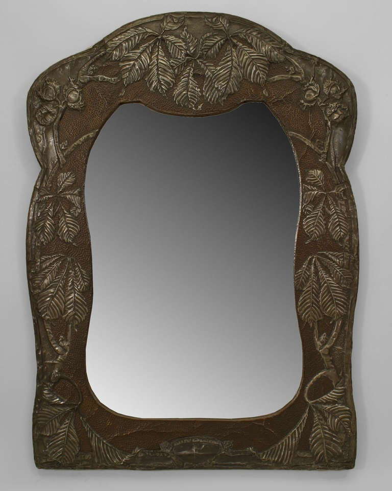 Art Nouveau Wall Mirror within an Embossed Metal Frame at ...