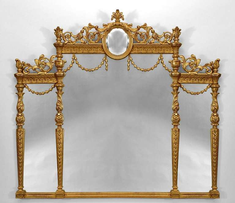 Horizontal Wall Mirror english adam style gilt triptych wall mirror for sale at 1stdibs