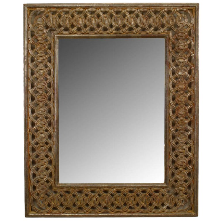 Italian Neoclassic Style Wall Mirror with a Patterned Gilt Frame For Sale