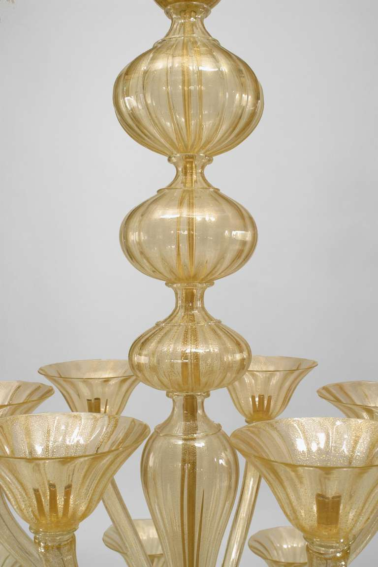 """Mid-Century Modern Italian 1950's Style """"Sommerso"""" Chandelier by Seguso For Sale"""