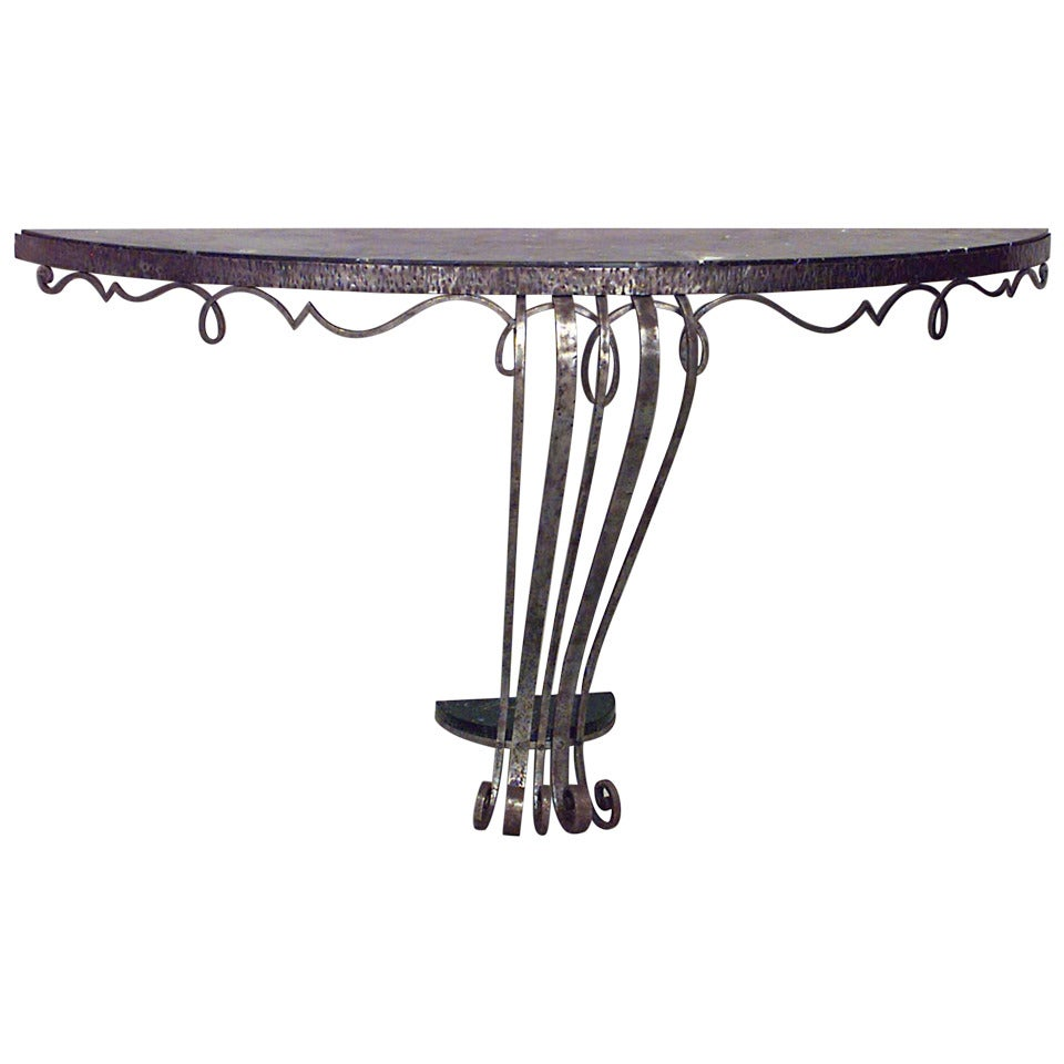 Raymond Subes French Art Deco Wrought Iron Marble Top Console Table