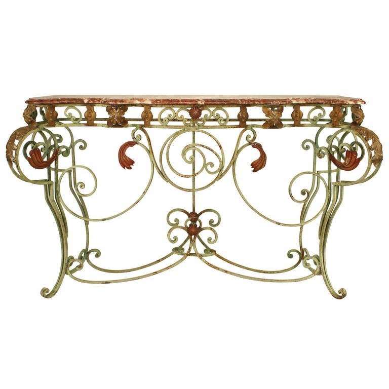 Turn of the Century French Marble and Iron Scroll Console For Sale