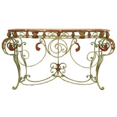 Turn of the Century French Marble and Iron Scroll Console