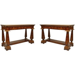 Pair of 19th Century Italian Neoclassical Marquetry Console Tables