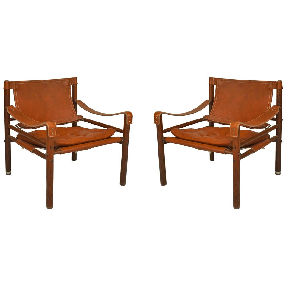 Pair of 1970s Swedish Leather Armchairs by Norel