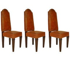 French Art Deco Leather Side Chairs, by Leleu