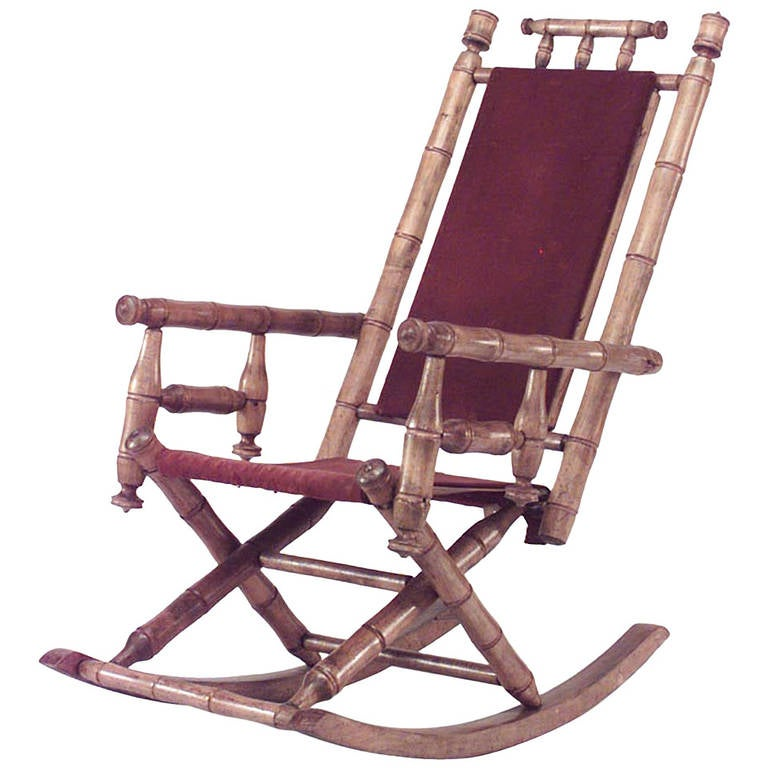 Late 19th or Early 20th Century American Faux Bamboo Rocking Chair