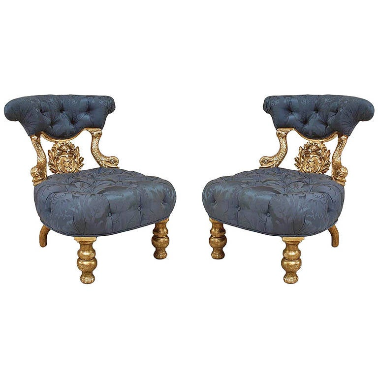 Pair of 19th Century Venetian Upholstered Silver Gilt Dolphin Side Chairs