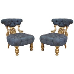 Pair of 19th Century Venetian Dolphin Side Chairs - 1stdibs New York
