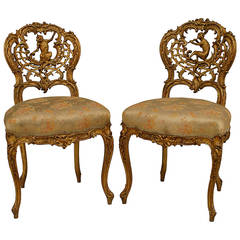 Pair of 19th Century French Louis XV Style Singerie Side Chairs