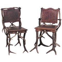 Pair of Similar 19th Century German Embossed Oak and Horn Side Chairs