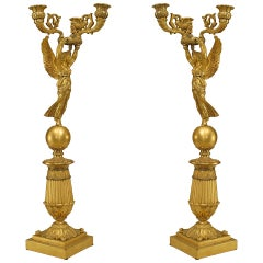 Pair of 19th c. French Empire Bronze Dore Nike Candelabra