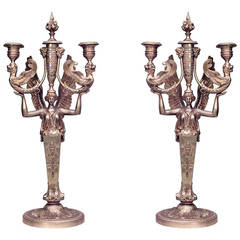 Pair of 19th Century French Empire Classicizing Bronze Dore Candelabra